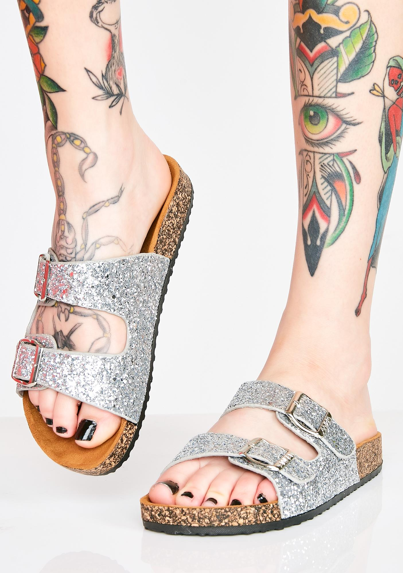 Chrome Sparkle Ur Way Glitter Sandals