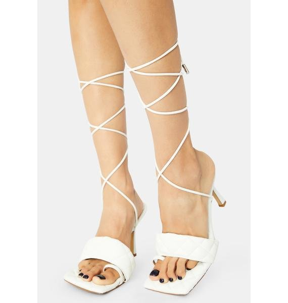 Divine Risk It All Quilted Lace Up Kitten Heels