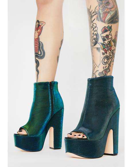 Green Sandspur Peep Toe Heels