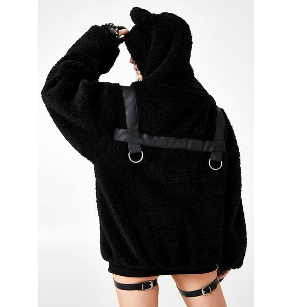 Club Exx Bondage Bear Faux Fur Hoodie