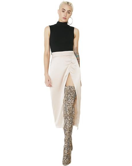 Zip High Slit Skirt