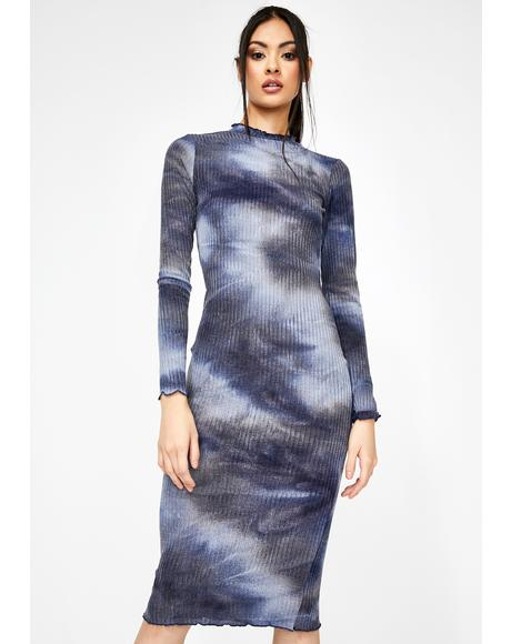 Navy Tie Dye Mock Neck Midi Dress