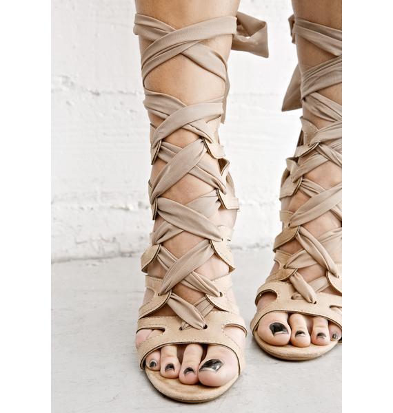 Nude On The Verge Wrap Heels