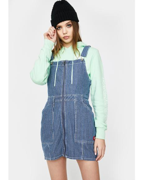 Denim Striped Zip Up Overall Dress