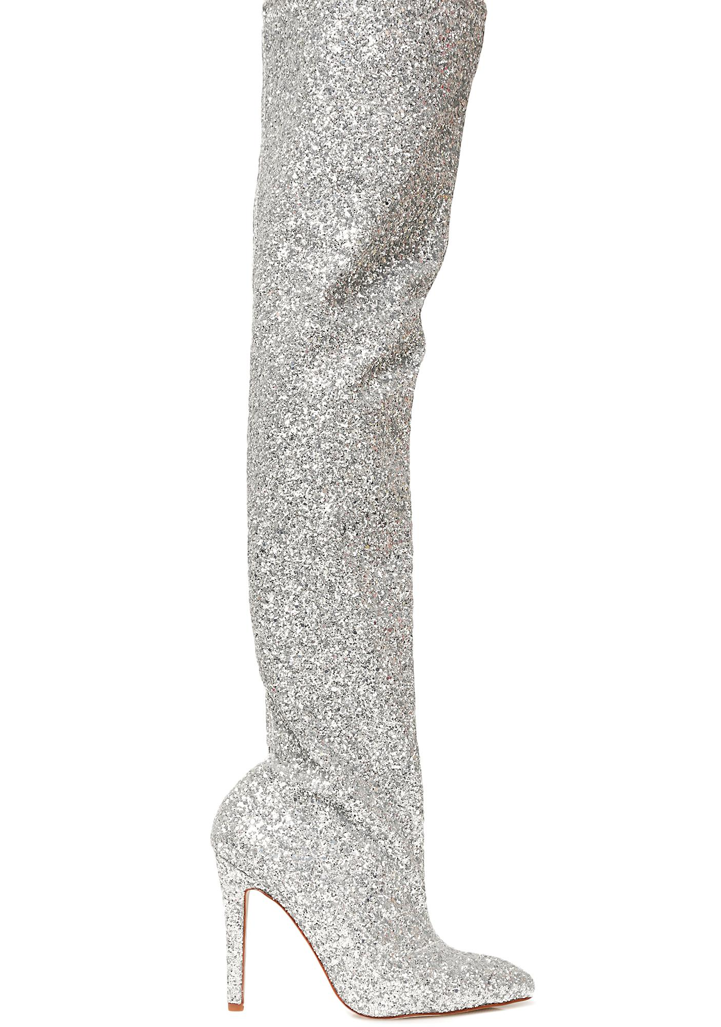 Sparkle Slouchy Knee High Boots BLACK Ze1A5YVn