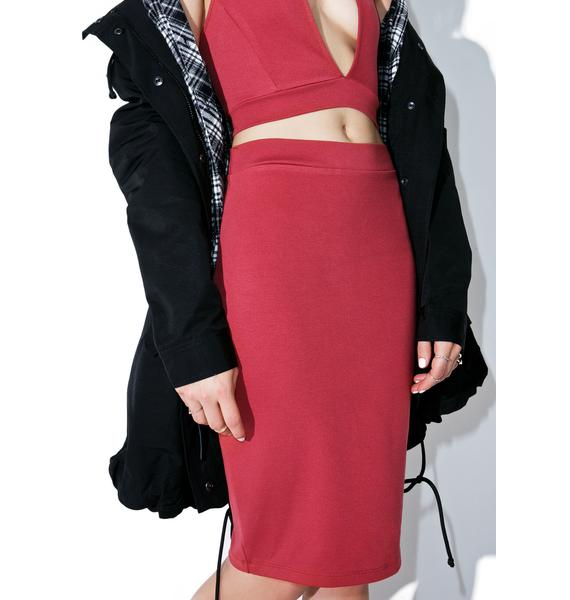 Raspberry Creme Pencil Skirt