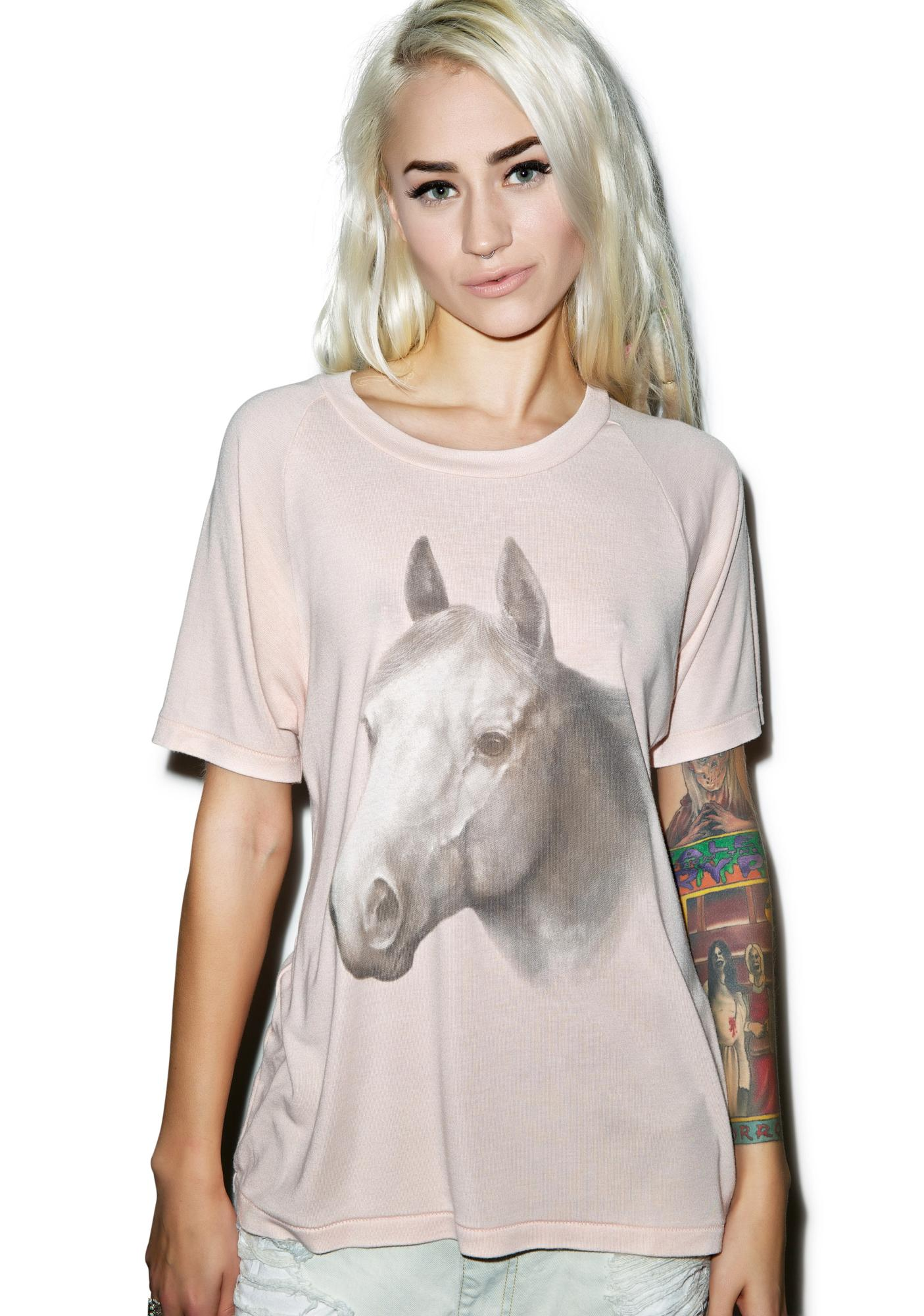 Wildfox Couture Horse Ride Lesson Perfect Crewneck Tee