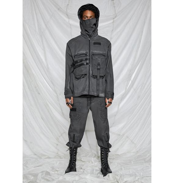 DARKER WAVS Synth Unisex Charcoal Washed Mask Utility Jacket