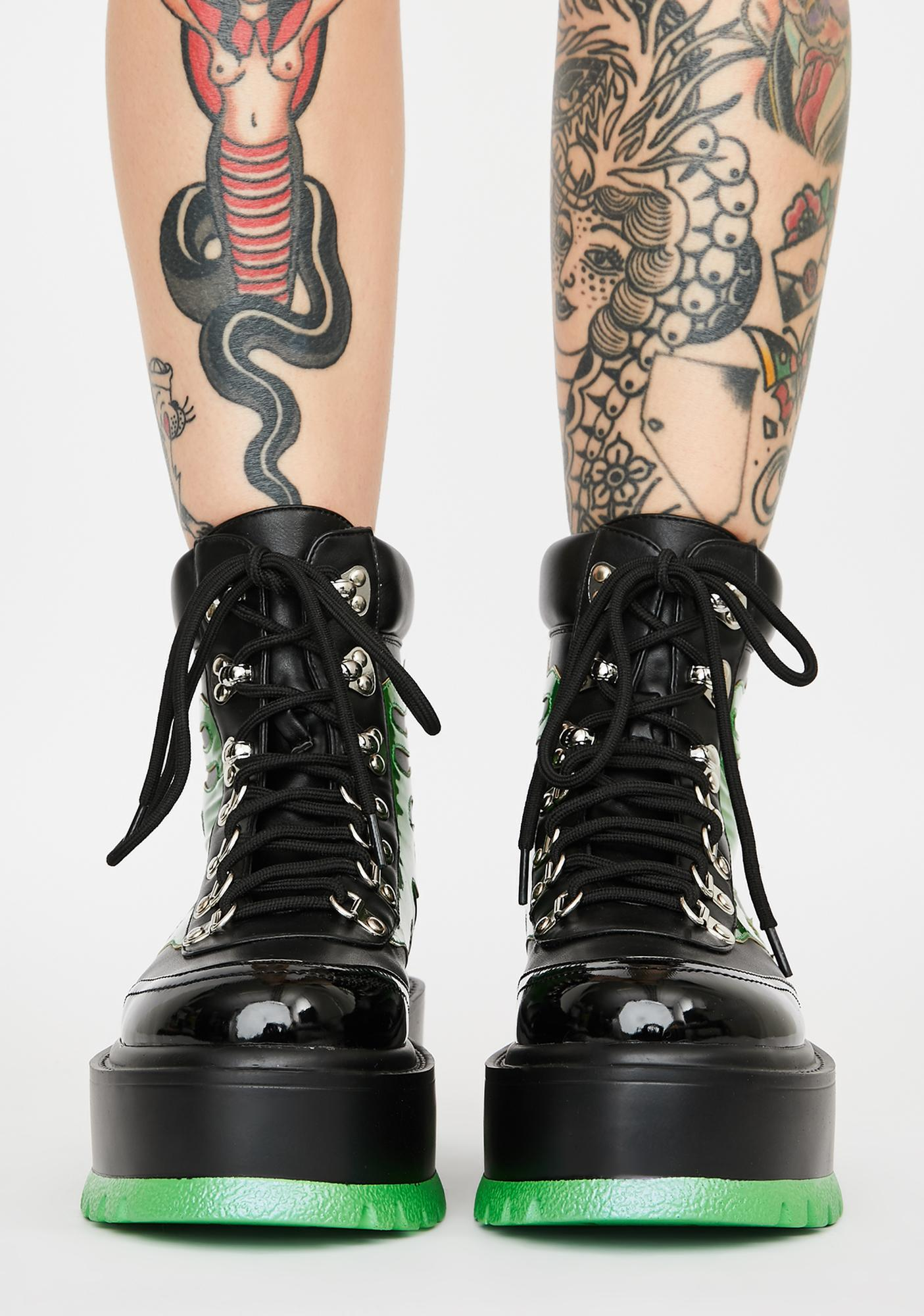 Koi Footwear Green Helios Flame Combat Boots