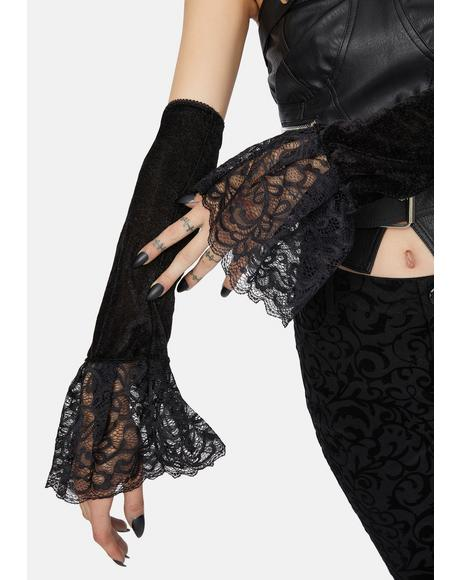Gothic Truth Velour Lace Ruffles Fingerless Gloves