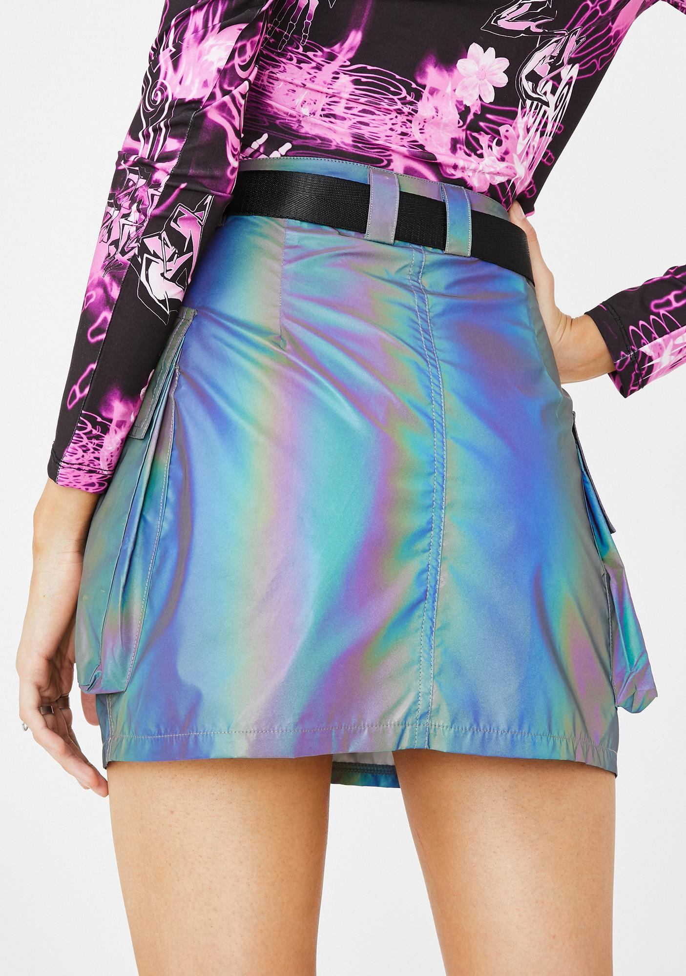 Jaded London Rainbow Reflective Belted Skirt