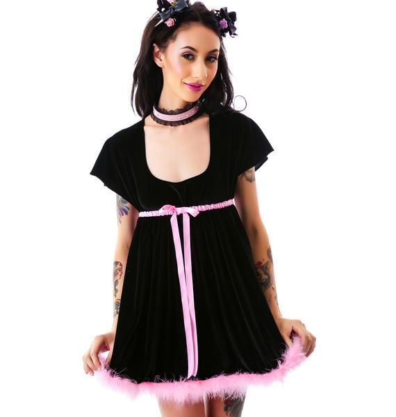 Stretch Velvet Empire Dress