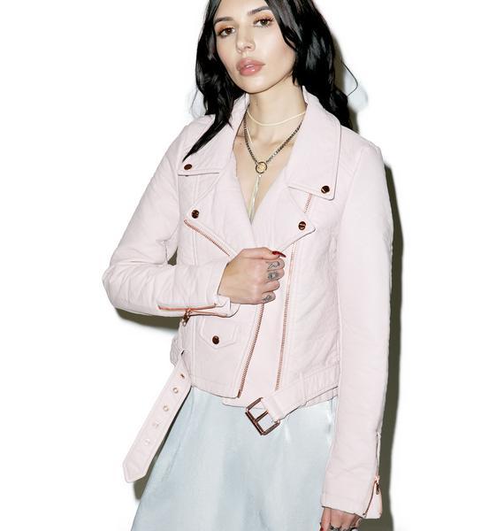 Iron Fist Pink Vegan Leather Moto Jacket
