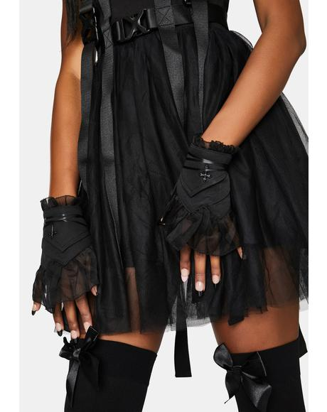 Sheer Tulle Fingerless Gloves