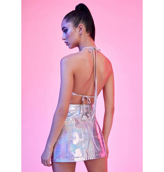 Current Mood Android Dream Holographic Mini Skirt