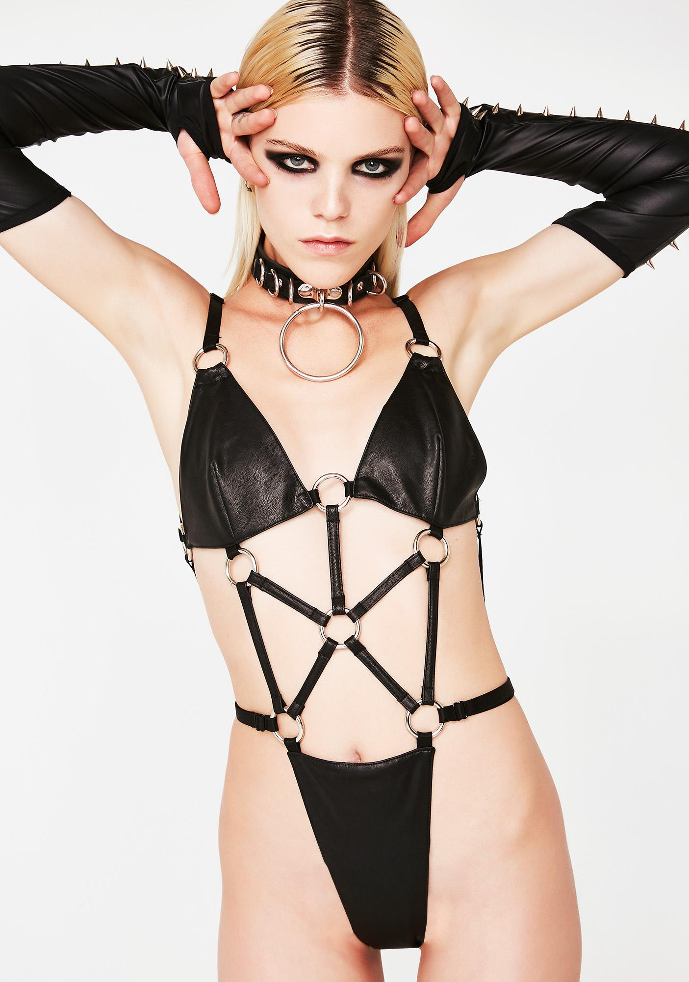 ebed33f37a Vegan Leather Strappy O-Ring Bodysuit