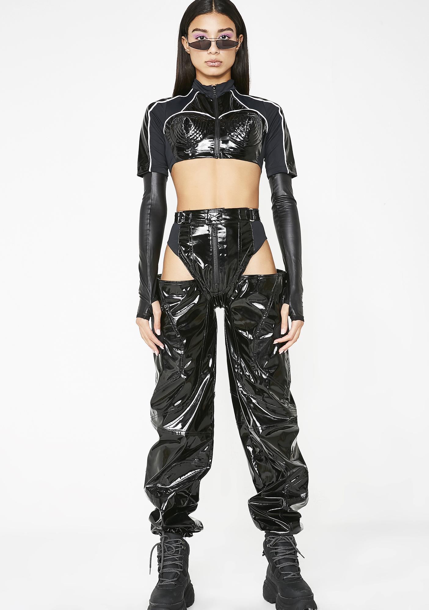 Namilia Patent Leather Cone Bra