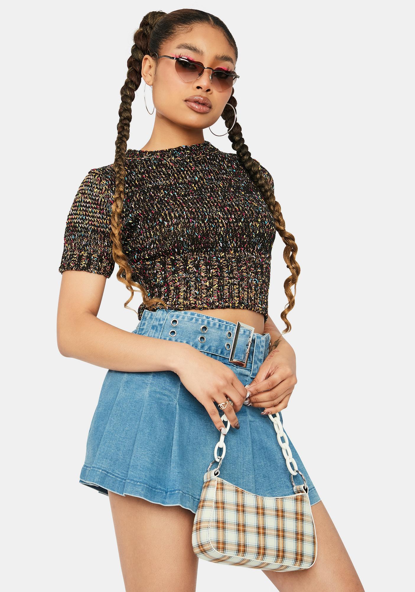 Secret Gossip Short Sleeve Crop Sweater
