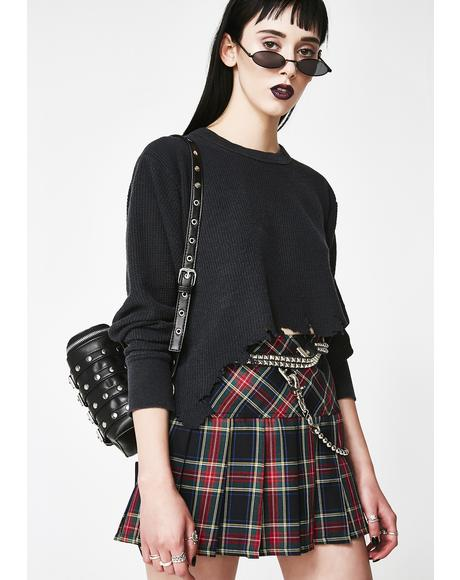 Dark Pleated Plaid Skirt