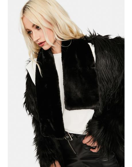 Noir Plush Love Faux Fur Scarf