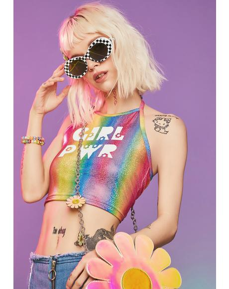 Girl Power Rainbow Sparkle Halter Top