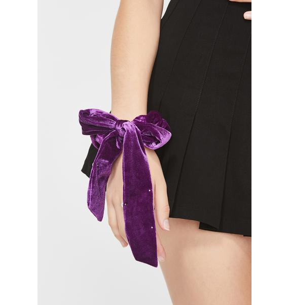 Violet Pearly Smiles Bow Scrunchie