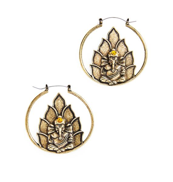 Ganesh Hoop Earrings