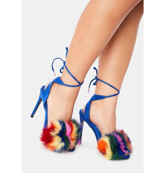 Dream Furriously Fierce Strappy Fuzzy Heels