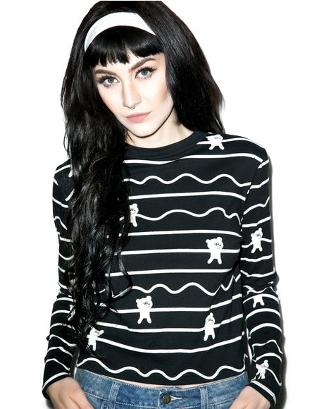 Bear Stripe Long Sleeve Tee