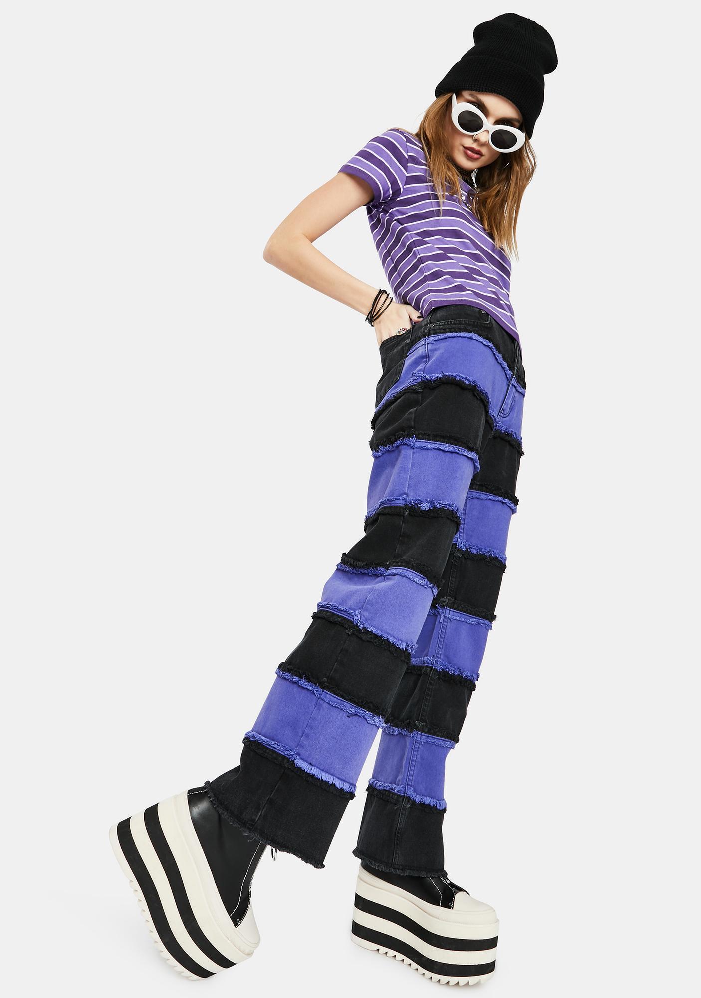 The Ragged Priest Purple Infringement Stripe Panel Jeans