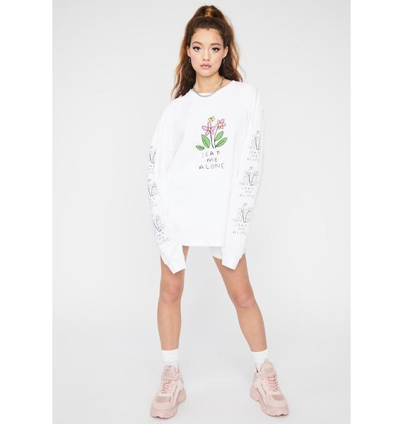 NEW GIRL ORDER White Leaf Me Alone Graphic Tee