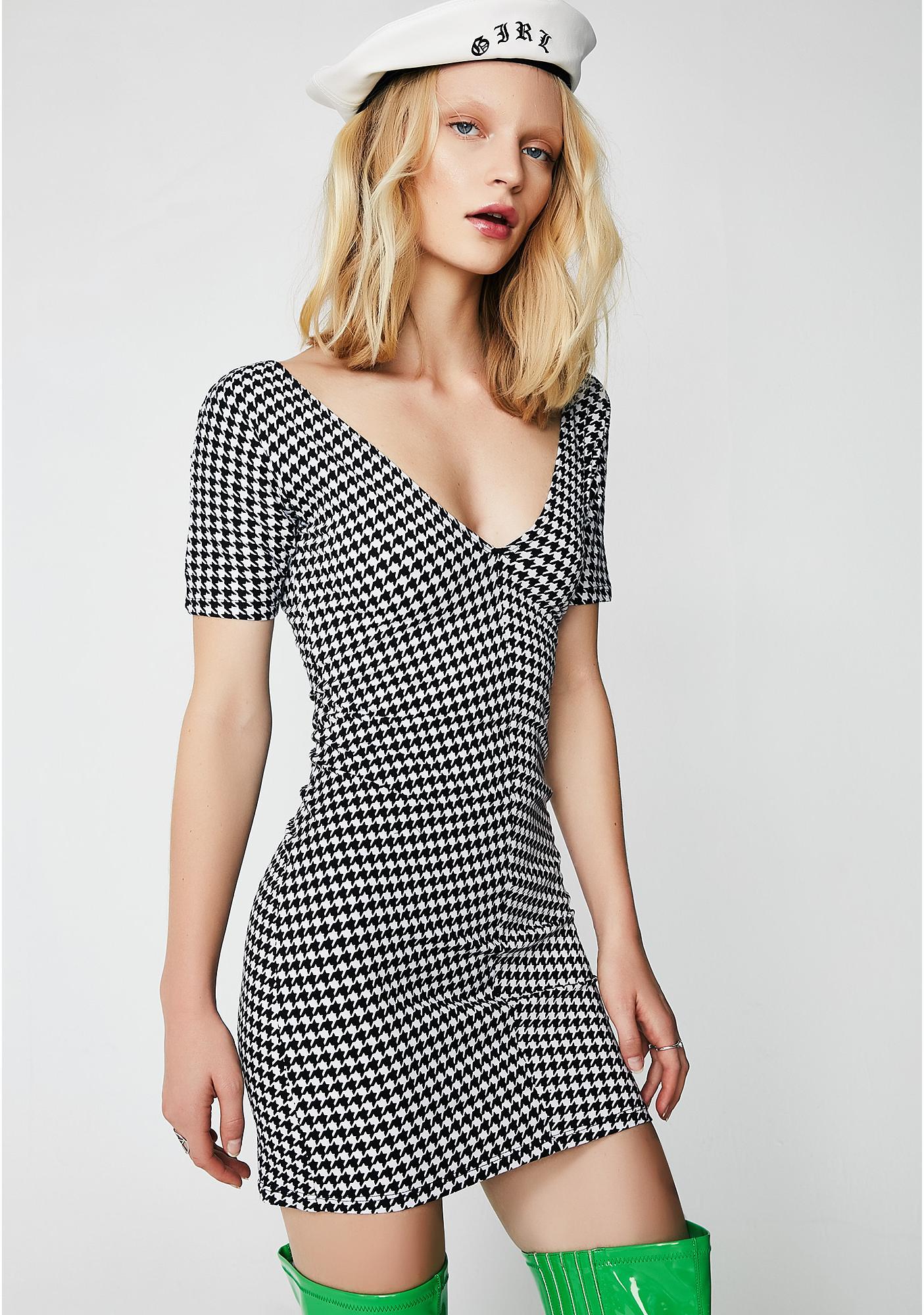 Motel Dogtooth Pema Bodycon Dress