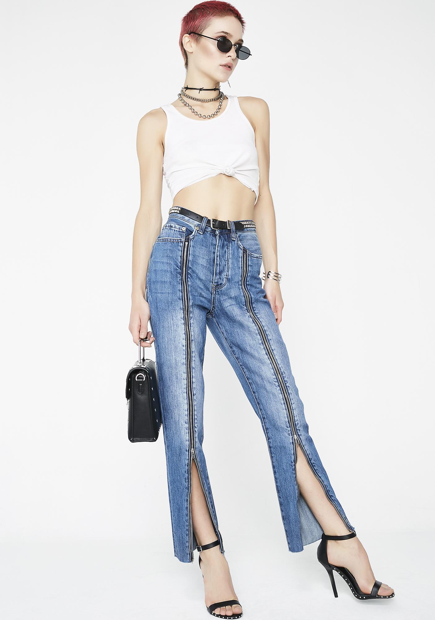 Neon Blonde Siren Zipped Jeans