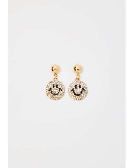 Smiling Lies Rhinestone Earrings