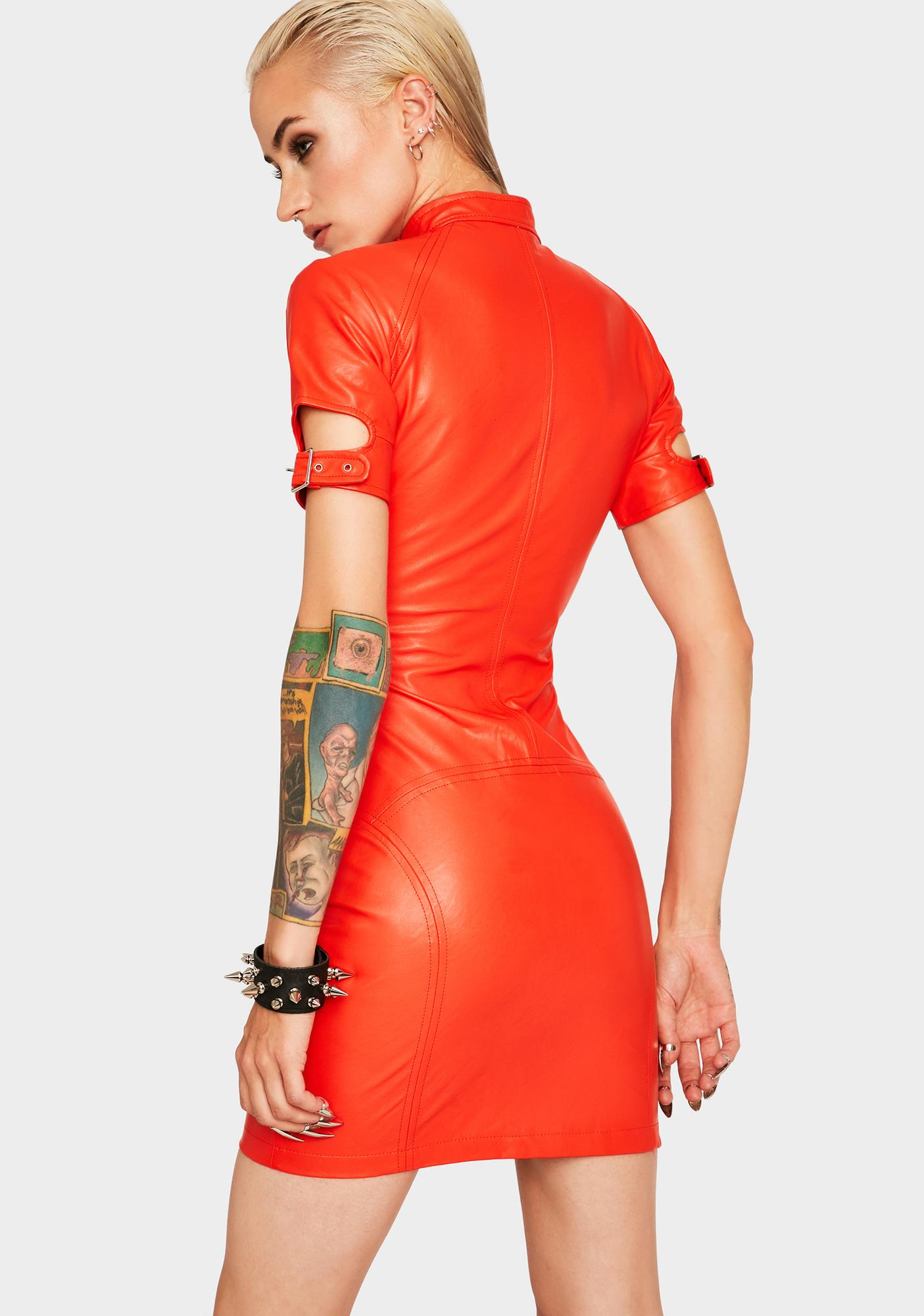 Strange Couture Red Faster Pussycat Vegan Leather Dress