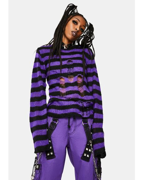 Purple Rag Striped Sweater