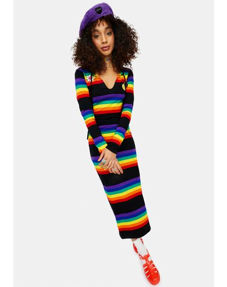 Rainbow Blast Striped Long Sleeve Maxi Dress
