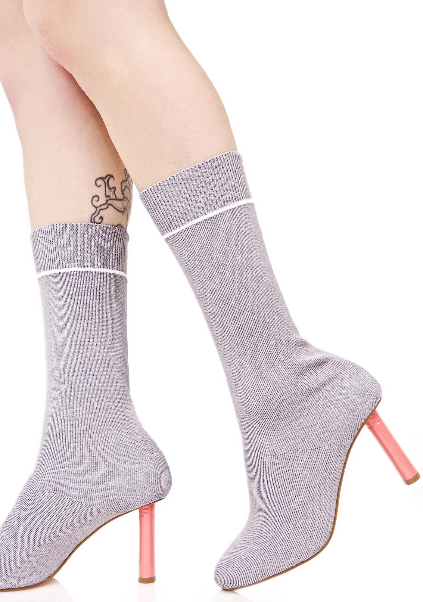 Grey Sock Boot Pink Heel