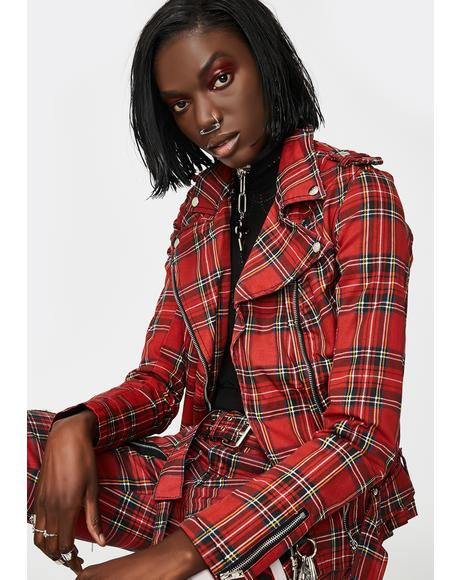 Red Plaid Wild Child Moto Jacket