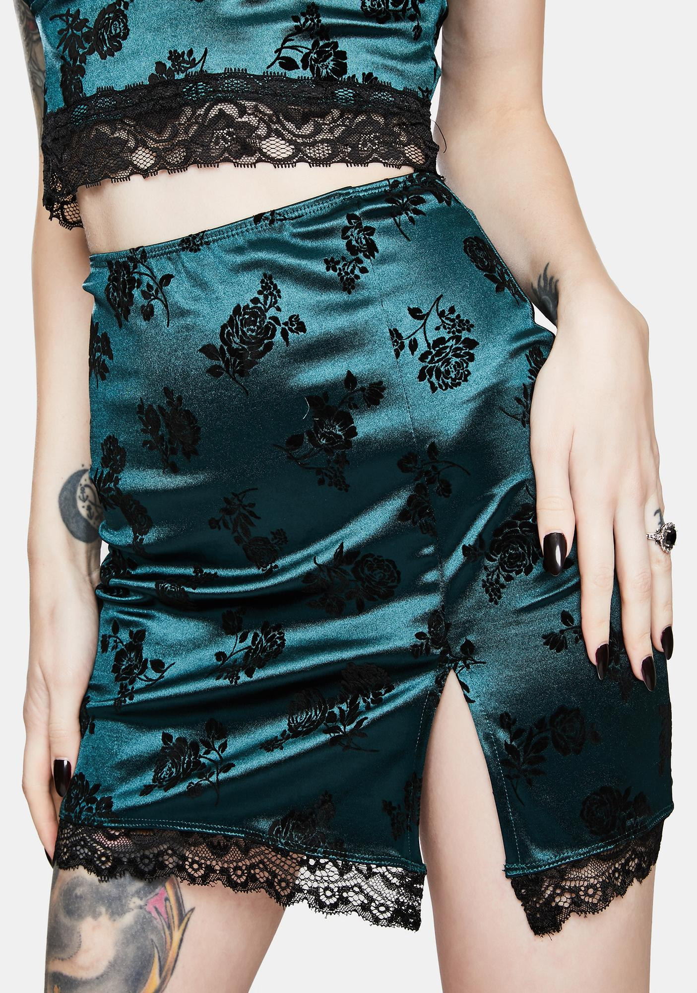 Motel Corla Rose Flock Forest Green Mini Skirt