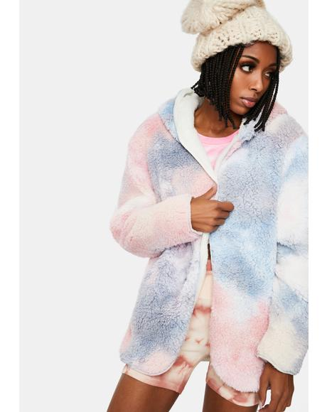 Cooler Than U Tie Dye Sherpa Jacket