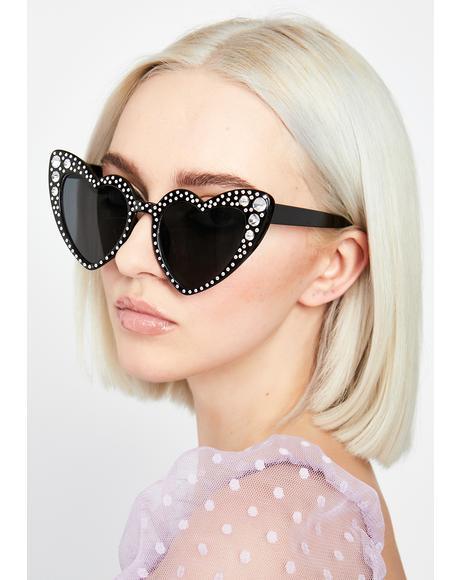 Onyx SoCal Romance Rhinestone Sunglasses