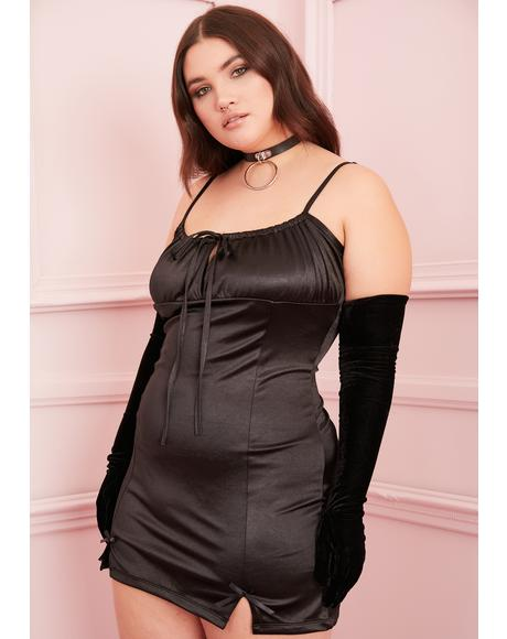 Noir I'm Cupid's Crush Satin Dress