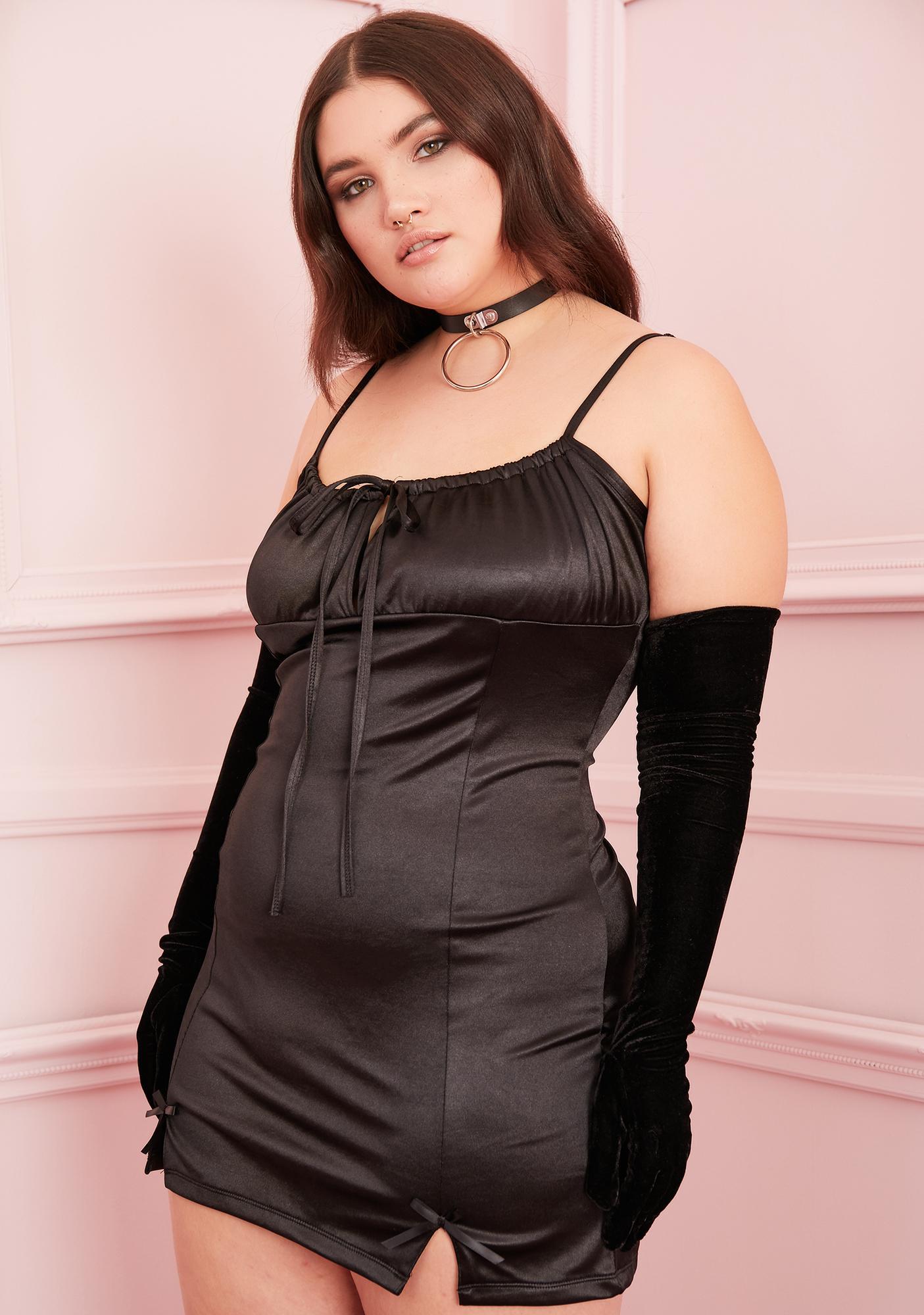 Sugar Thrillz Noir I'm Cupid's Crush Satin Dress