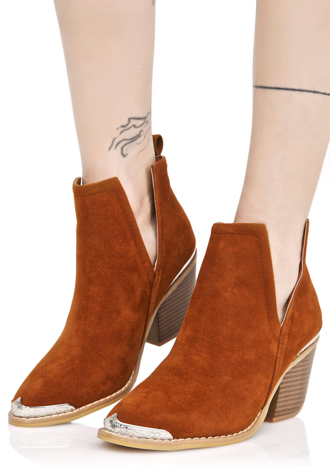 Brown Suede Slit Ankle Boots