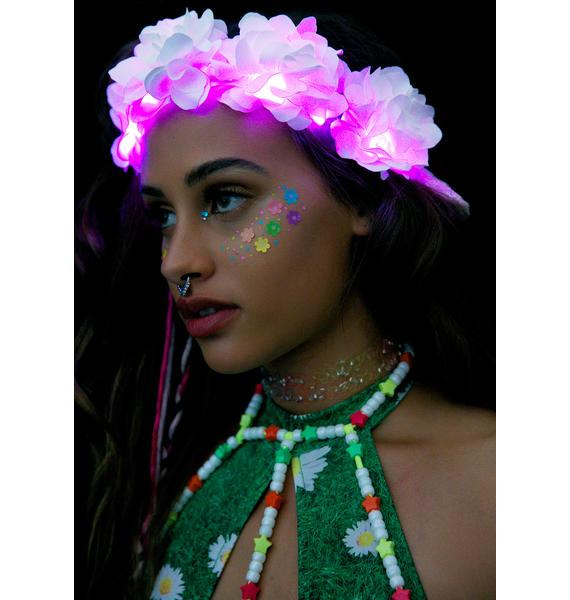 J Valentine White Rose Light-Up Flower Crown