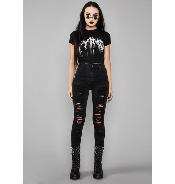 Widow Into Oblivion Distressed Jeans