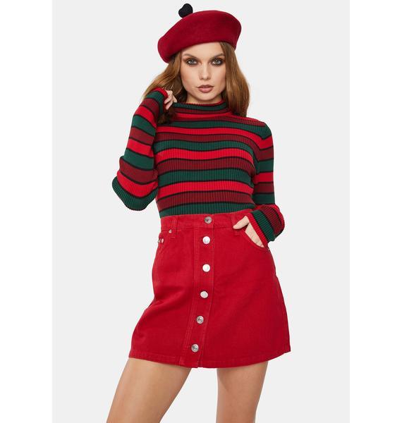 Minga Red Denim Button Skirt
