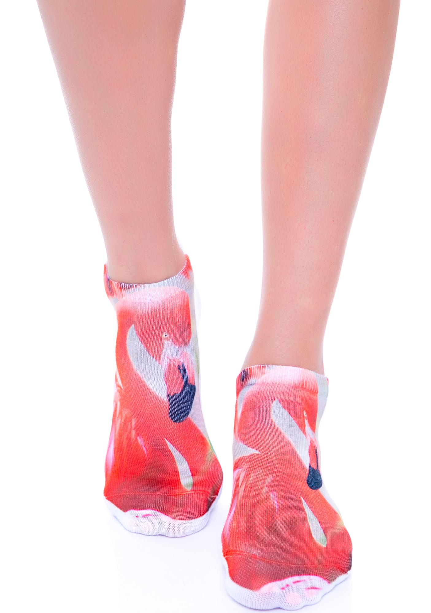 Pink Flamingo Ankle Socks