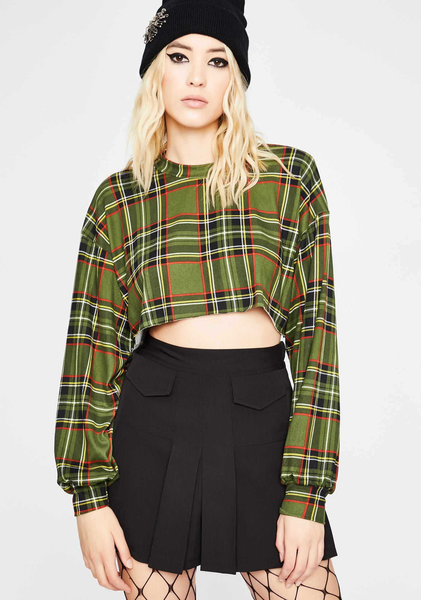 Olive Lumberjack Chic Crop Pullover